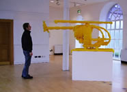 Yellow Helicopter with artist